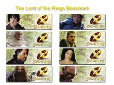 Set of 16 lord of the rings bookmarks